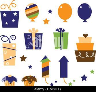 Retro birthday icons and elements isolated on white ( orange, blue, green ) - Stock Photo