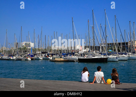 Sailing boats at Port Vell, Barcelona, Spain, Europe - Stock Photo
