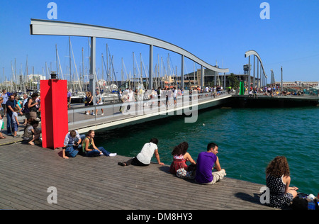 RAMBLA del MAR at Port Vell, Barcelona, Spain, Europe - Stock Photo