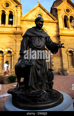 Saint Francis statue in front of the Cathedral Basilica of Saint Francis of Assisi, Santa Fe, New Mexico, 1 December - Stock Photo