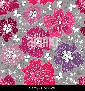 Seamless floral grey pattern - Stock Photo
