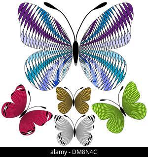 Set abstract mosaic butterflies - Stock Photo