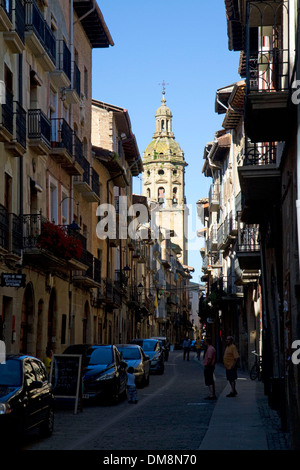 Tower of the Church of Santiago el Mayor at Puente La Reina a Basque town along the Way of St. James pilgrimage, - Stock Photo