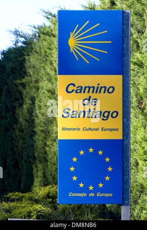 Marker along the Camino De Santiago, the Way of St. James pilgrimage route, Navarra, Spain. - Stock Photo