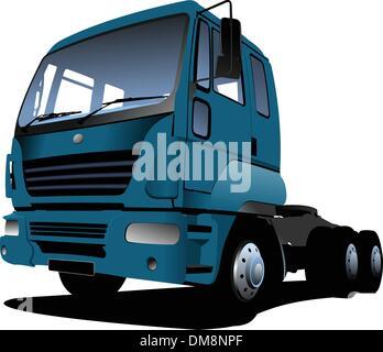 Vector illustration of blue  truck - Stock Photo