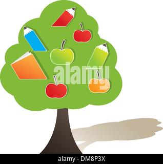 Green tree with apple. Vector illustration - Stock Photo