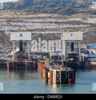 Docking berths for cross channel ferries in the Port of Dover, Dover, England - Stock Photo