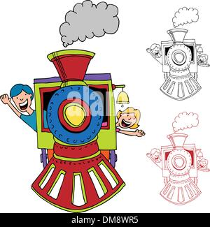 Colorful Cartoon Steam Train Riding Over Hilly Landscape With Big