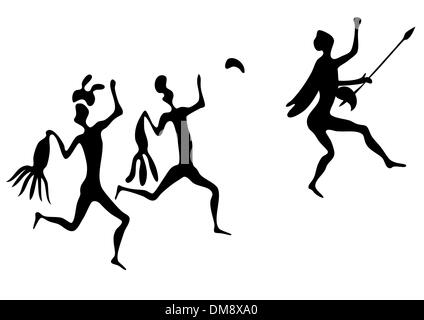 primitive art - various figures - vector - Stock Photo