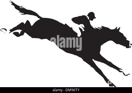Vector horse with a jockey - Stock Photo