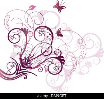 Purple and pink floral corner design element - Stock Photo