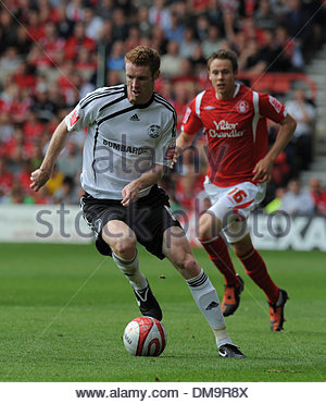 Stephen Pearson of Derby County and Chris Gunter of Nottingham Forest..Coca Cola Championship..Nottingham Forest - Stock Photo