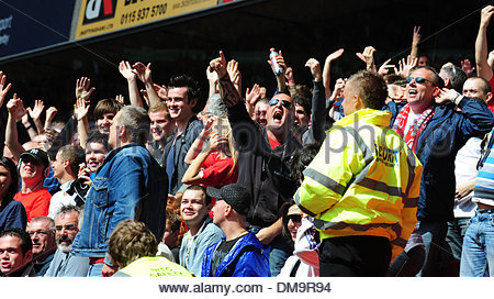Supporters taunt each other..Coca Cola Championship..Nottingham Forest v Derby County..29th August, 2009.(Credit - Stock Photo