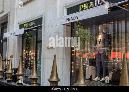 WINDOW OF THE PRADA BOUTIQUE, AVENUE MONTAIGNE, 8TH ARRONDISSEMENT, PARIS, FRANCE - Stock Photo