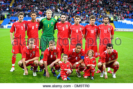 Welsh National team group BAck row left to right: Sam Ricketts, Lewin Nyatanga, Wayne Hennessey, Craig Morgan, Ched - Stock Photo