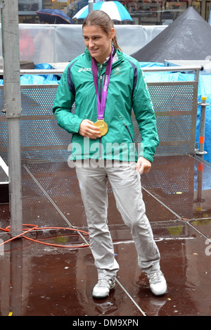 Katie Taylor A civic reception is held for Irish Olympic Team on Dawson Street to celebrate their efforts during - Stock Photo