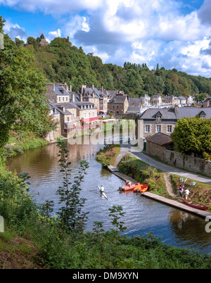 The river town of Dinan in Brittany, a region on the Atlantic and English Channel coasts in western France on the - Stock Photo