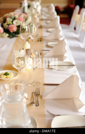 Table layout for a wedding reception - Stock Photo