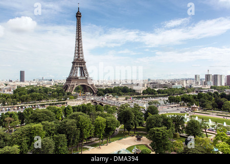 TROCADERO GARDENS, EIFFEL TOWER AND MONTPARNASSE TOWER SEEN FROM THE TERRACE OF THE CITY OF ARCHITECTURE AND HERITAGE, - Stock Photo