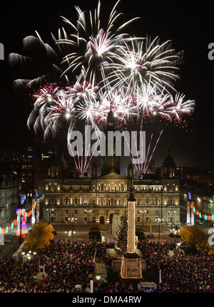 Fireworks over The People's Palace and Winter Gardens in Glasgow Green, Scotland - Stock Photo