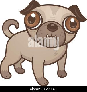 Pug Puppy Cartoon - Stock Photo