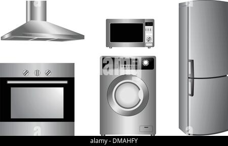 detailed household appliances icons - Stock Photo