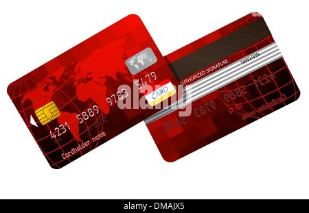 Red Credit cards front and back. EPS 8 - Stock Photo