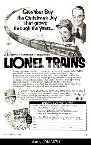 Old Advert Lionel Toy Trains Model railway Historical Archival Document - Stock Photo