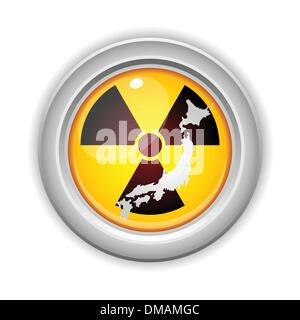 Japan Nuclear Disaster Yellow Button - Stock Photo