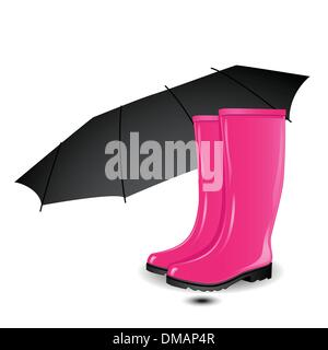 A pair of rainboots and an umbrella - Stock Photo