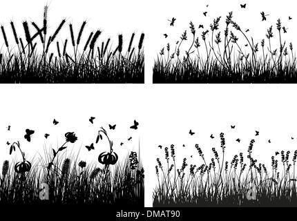 meadow silhouettes - Stock Photo