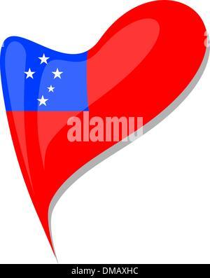 samoa flag button heart shape. vector - Stock Photo