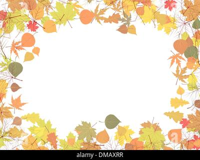 Fall leaves with pumpkin and sky background. EPS 8 - Stock Photo