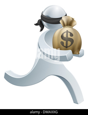Burglar thief silver person concept of a thief with face mask running off with a big sack of money - Stock Photo