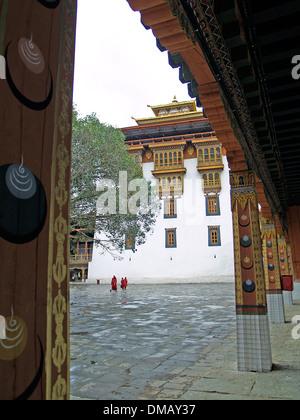 The arcaded courtyard of the Punakha Dzong,Bhutan - Stock Photo
