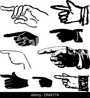 Collection set of hand gestures pointing. Vector illustration - Stock Photo