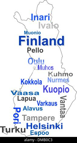 finland map and words cloud with larger cities - Stock Photo