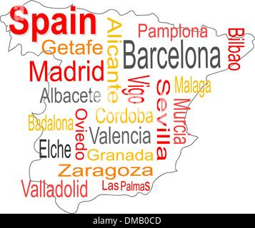 spain map and words cloud with larger cities - Stock Photo