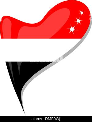 yemen flag button heart shape. vector - Stock Photo