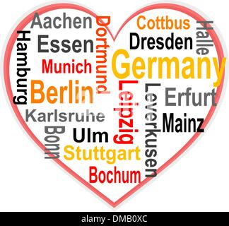 Germany Heart and words cloud with larger cities - Stock Photo