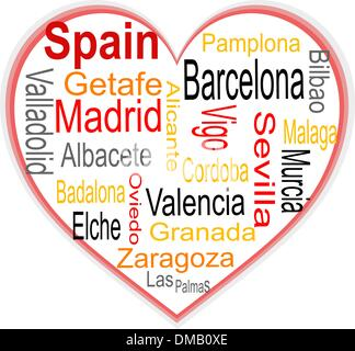 Spain Heart and words cloud with larger cities - Stock Photo