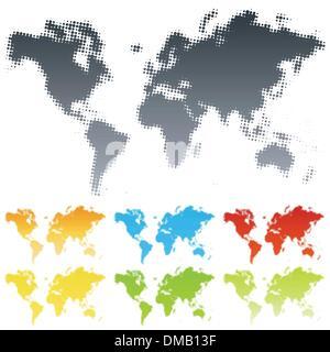 Halftone world map - Stock Photo