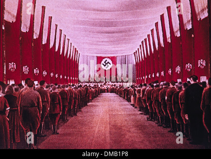 SA Troops in Congress Hall, Nuremberg, Germany, 1933 - Stock Photo