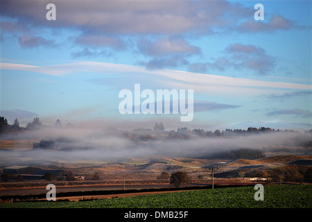 Mist hangs low over a valley near Blackford, Perth and Kinross. - Stock Photo