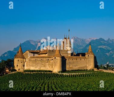 The Chillon Castle (Chateau de Chillon), Veytaux, Vaud, Switzerland - Stock Photo