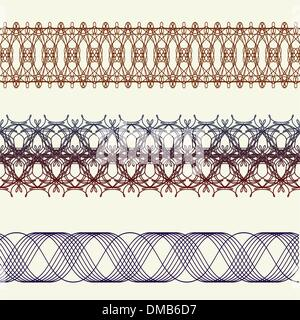 set of borders seamless elements for certificates, awards - Stock Photo