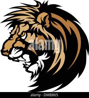 Lion Head Graphic Mascot Logo - Stock Photo