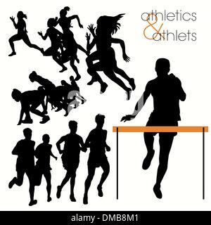 Athletes silhouettes set - Stock Photo