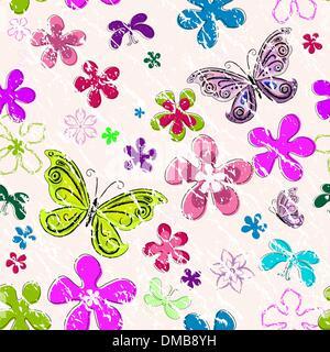 Floral seamless grunge pattern - Stock Photo