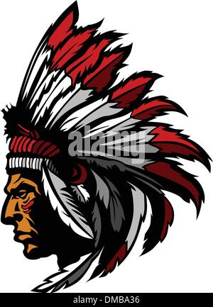 Indian Chief Mascot Head Vector Graphic - Stock Photo